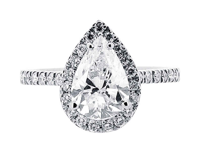 Pear Cut Diamond Halo Style Engagement Ring - ER 1528