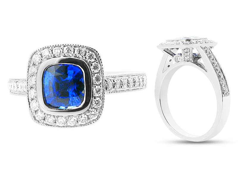 Blue Cushion Cut Sapphire in Halo Setting – ER 1012