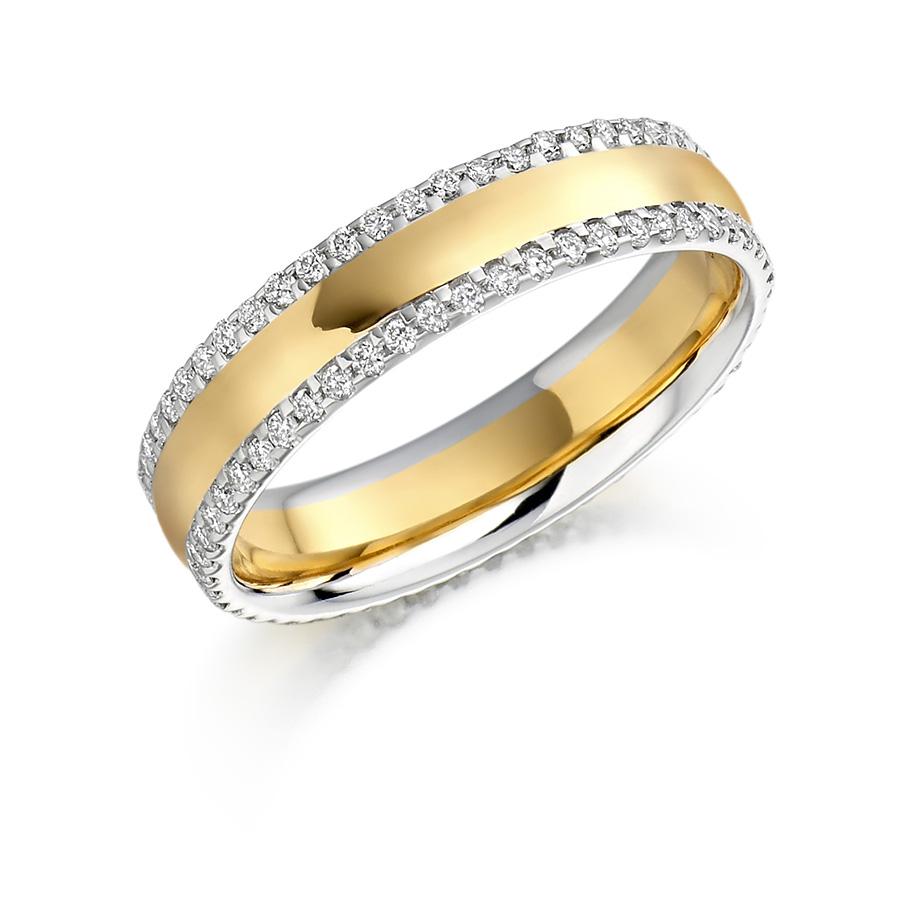 Two Tone Double Row Diamond Set Ring - FET 1105 ☎ (01) 677-8449 ...