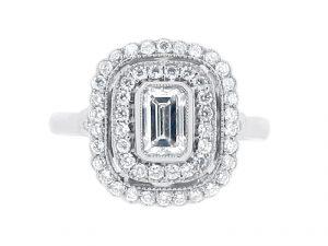 Emerald Cut Antique Double Halo Engagement Ring - ER 2020