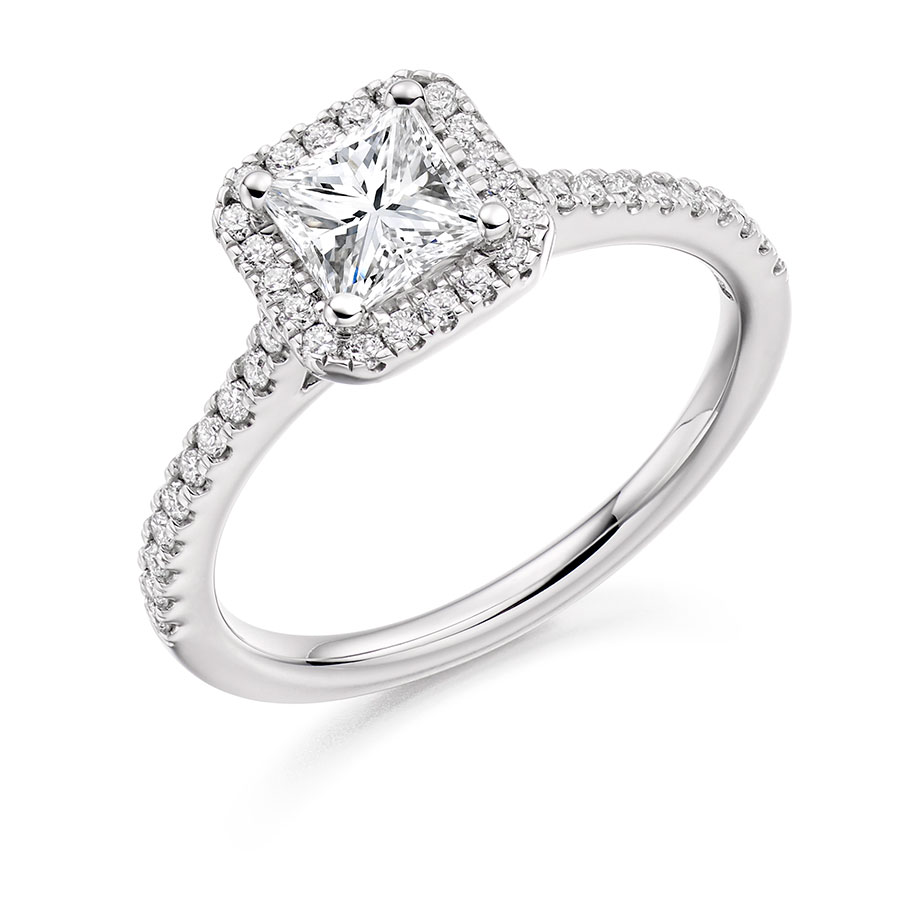 Cushion Cut Diamond Engagemetn Ring with Scallop Set Halo and Shoulders