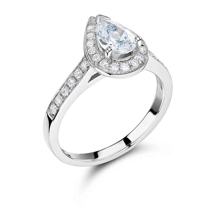 Pear Shaped Halo Engagement Ring ER 1111