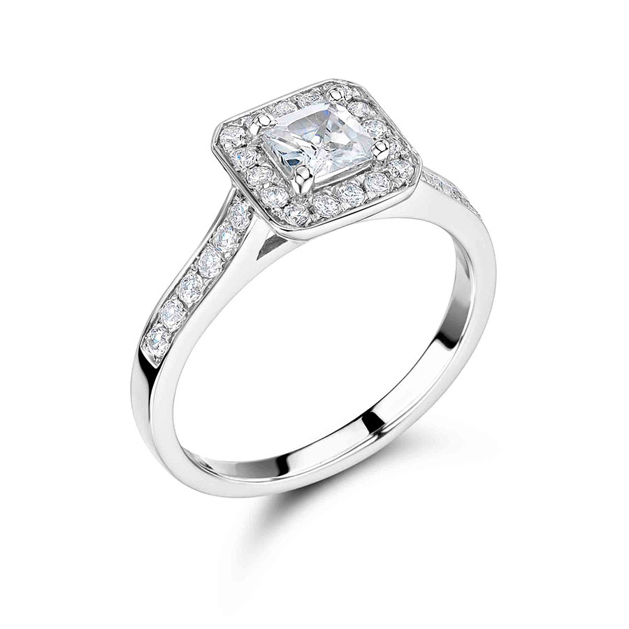 Handmade Princess Cut Halo Engagement Ring - ER 1054