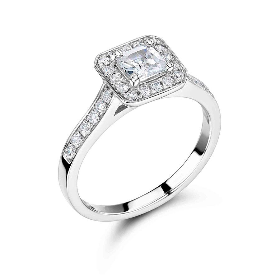 Handmade Princess Cut Halo Engagement Ring ER 1054