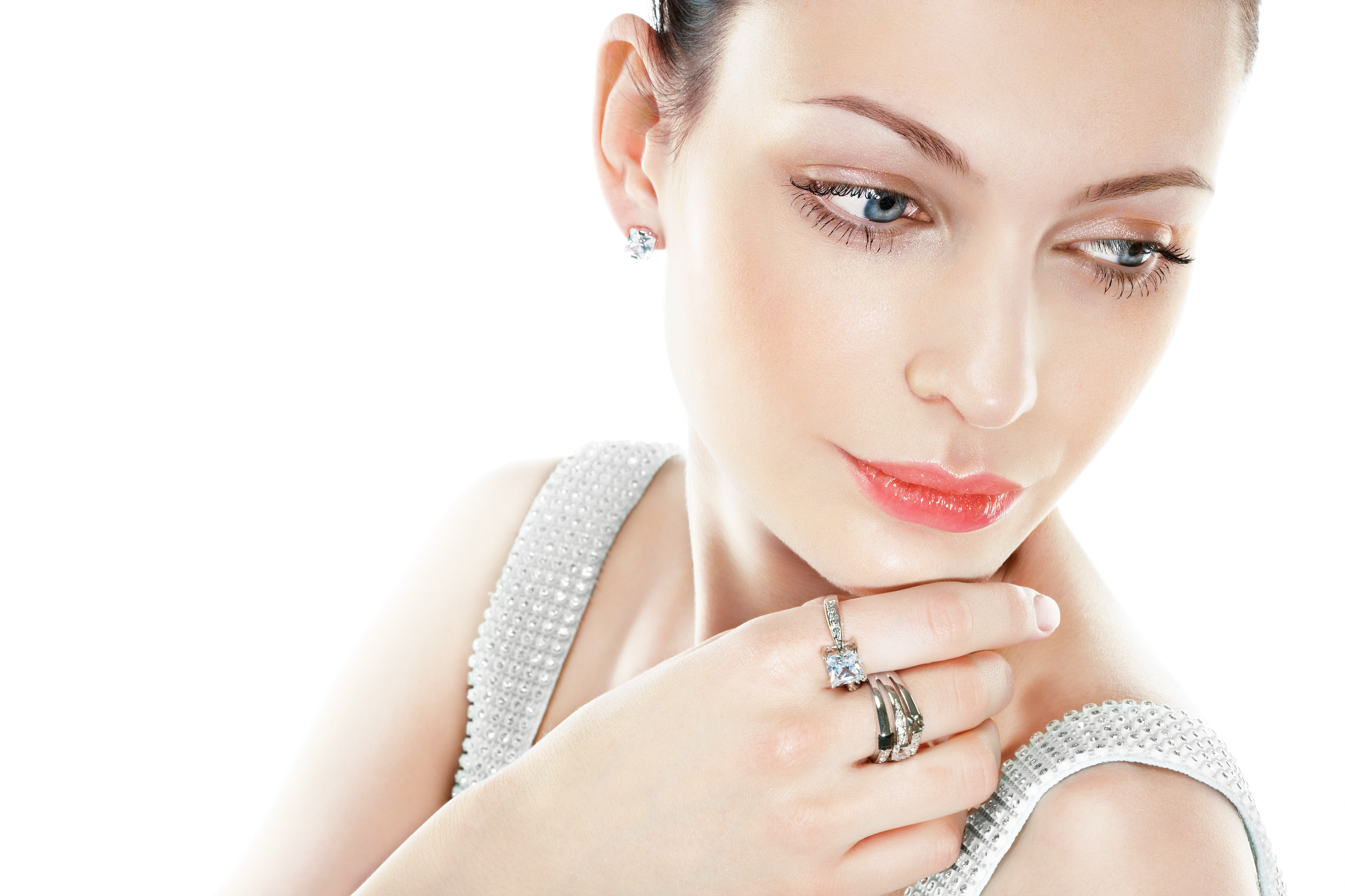 woman with diamond rings