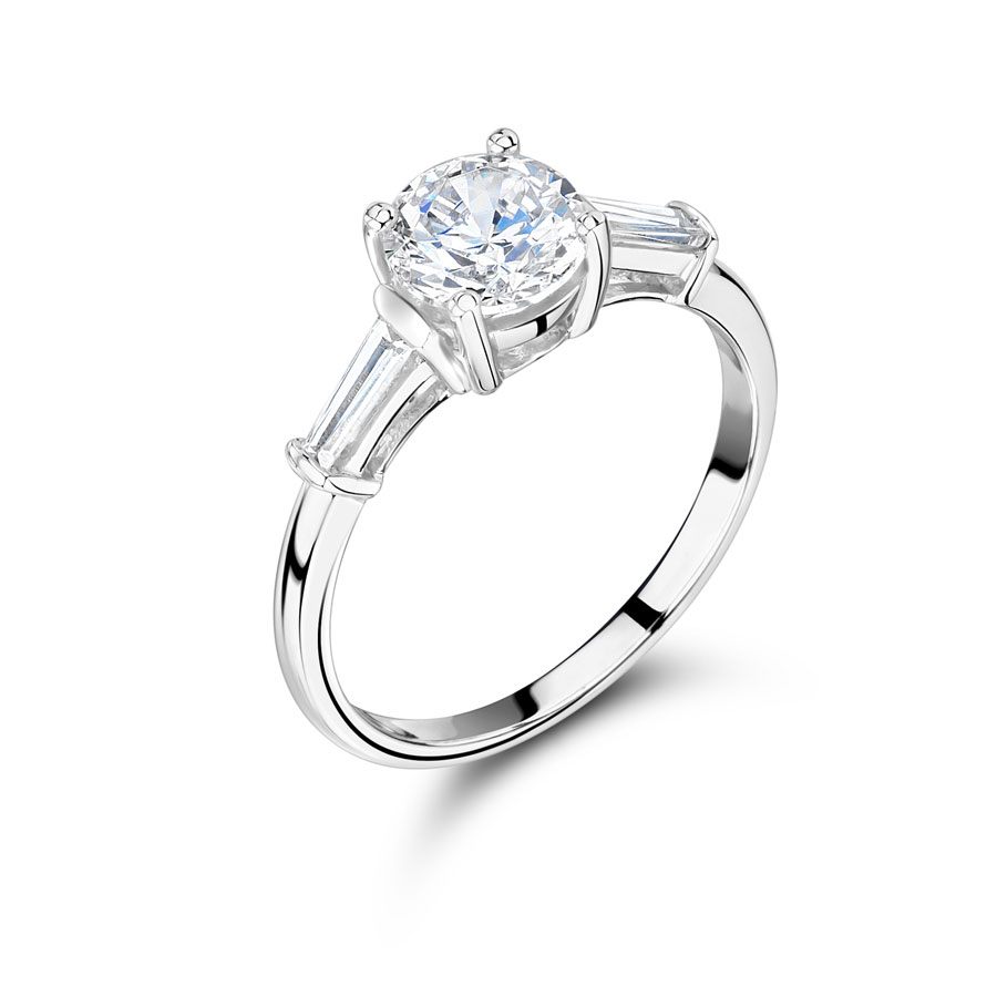 Round Solitaire Diamond With Baguette Side Stone Er1183a