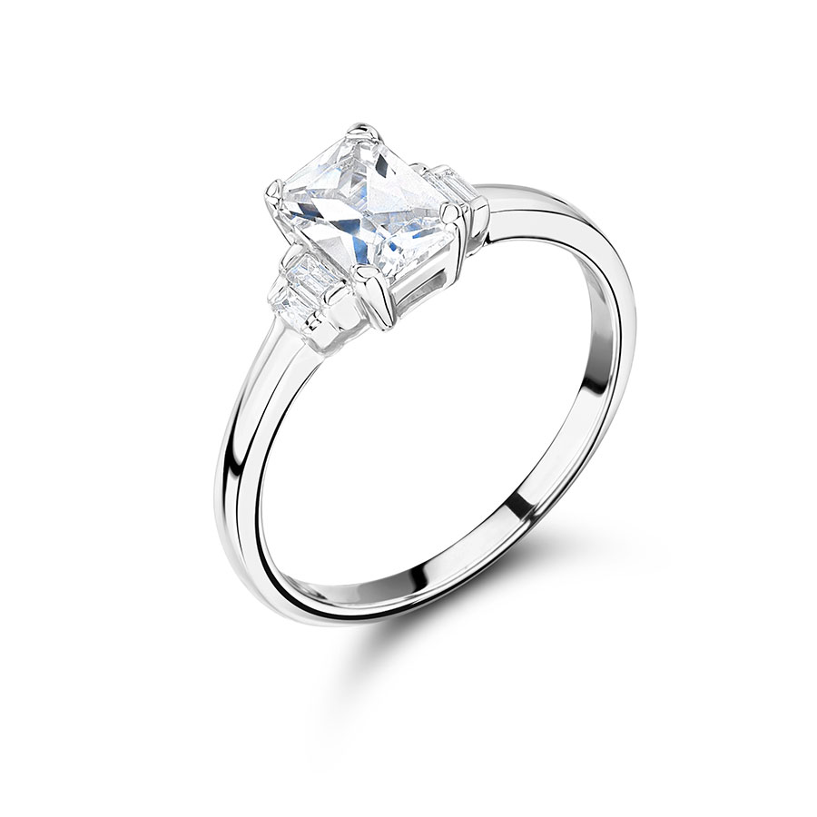 Radiant Cut Diamond with Graduated Baguette Side Stones - ER2290