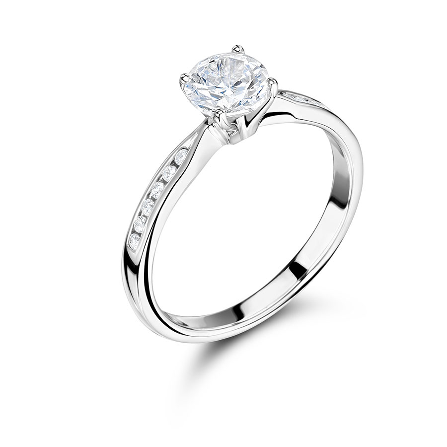 Round Brilliant Solitaire with Channel Set Shoulders - ER 2247