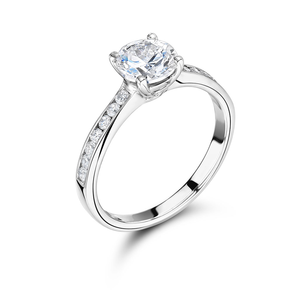 Round Solitaire with Channel Set Shoulders - ER2062