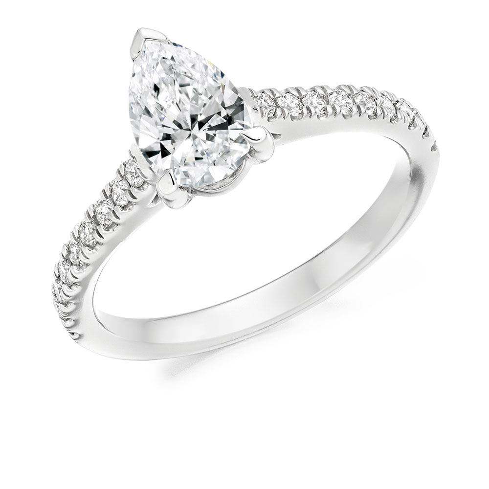 Pear Shaped Solitaire with Scallop Set Shoulders