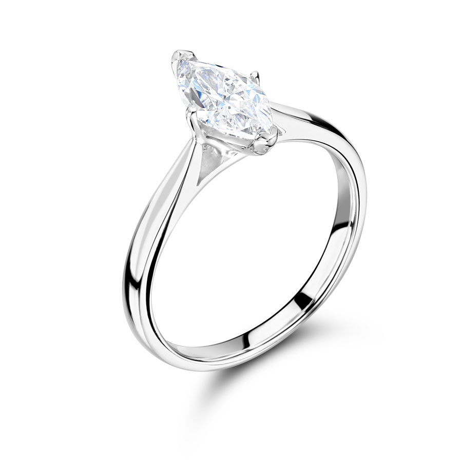 Marquise Solitaire Engagement Ring with Tapered Shoulders