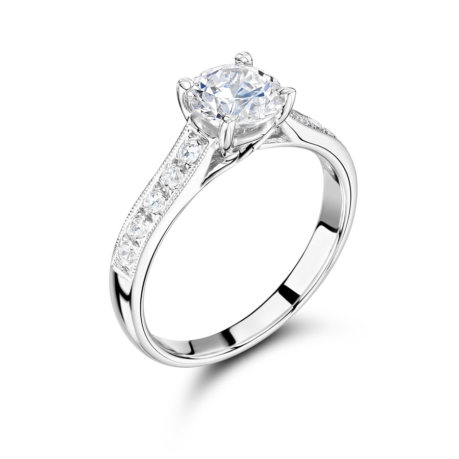 Round Solitaire Engagement Ring with Parallel Pave Set Shoulders