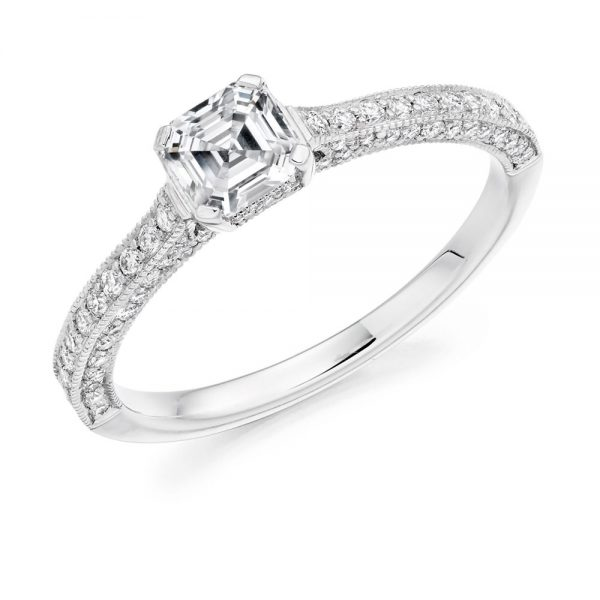 Asscher Cut Solitaire With Pave Set Shoulders Engagement Ring