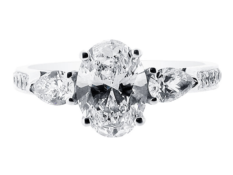 Oval Cut and Pear Trilogy Engagement Ring – ER 1211