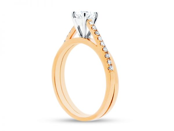 ER 1228 side round solitaire offset scallop rose gold