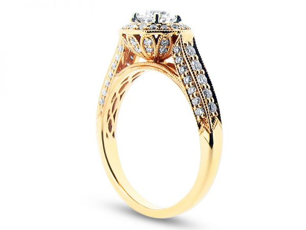 ER 1248 sideround brilliant rose gold pave set halo with pave shoulders and walls and basket diamond detail