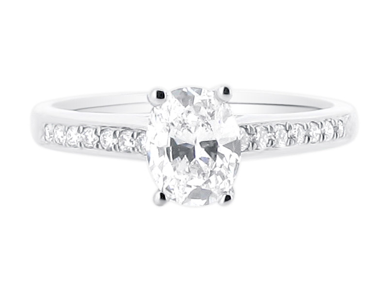 ER 1408 oval solitaire crossover pave shoulders