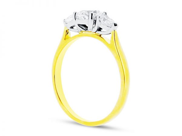 ER 1565 side round solitaire pear yellow gold