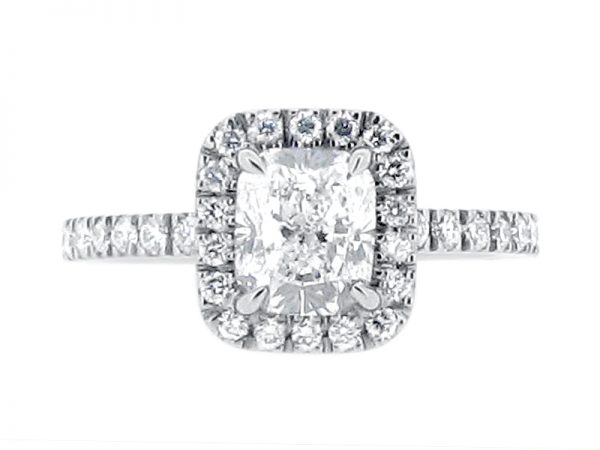 ER 1997 Cushion Cut Scallop Set Diamond Halo And Soulders in Harry Winston The One Style Engagement Ring