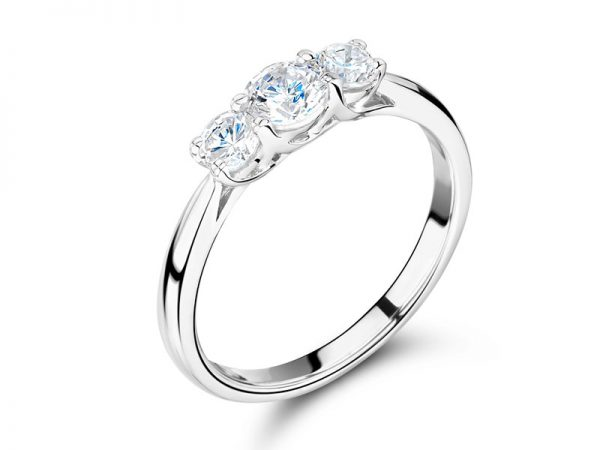 Graduated Crossover Trilogy Style Engagement Ring