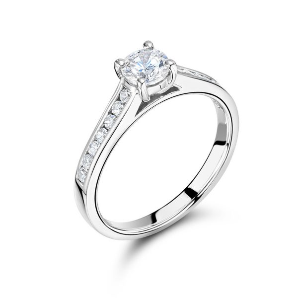 Lovely Solitaire With Pave Shoulders Set In White Gold Band