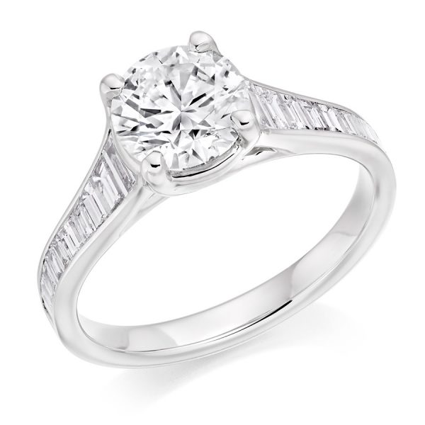 Round Brilliant Baguette Cut Diamond Reverse Tapered Engagement Ring