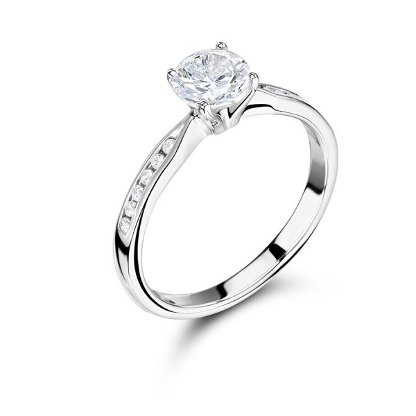 Round Brilliant Solitaire with Channel Set Shoulders