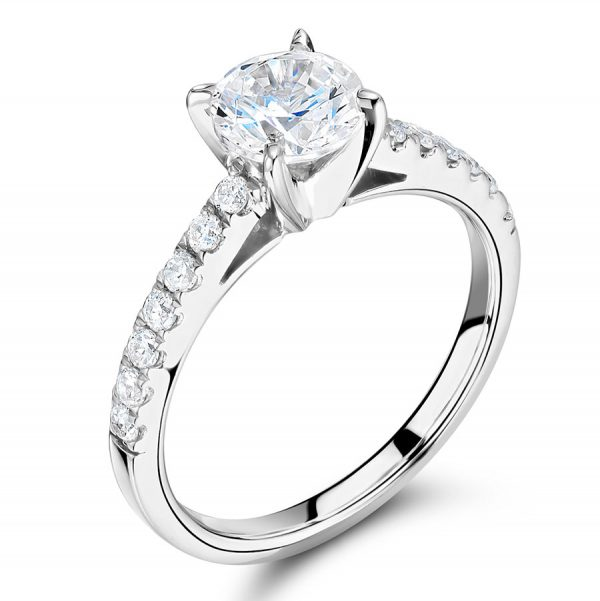 Round Brilliant Solitaire with Scallop Set Shoulders