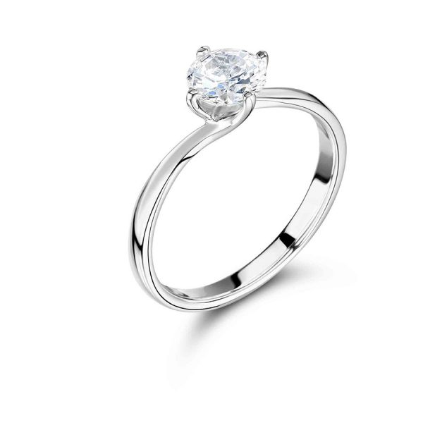 Round Shaped Solitaire Twist Engagement Ring