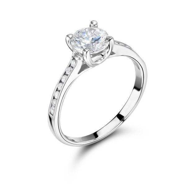 Round Solitaire with Channel Set Shoulders ER2059