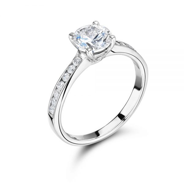 Round Solitaire with Channel Set Shoulders ER2062