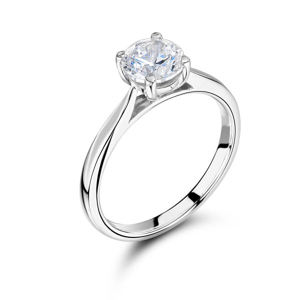 Round Solitaire with Slim Tapered Shoulders ER2374