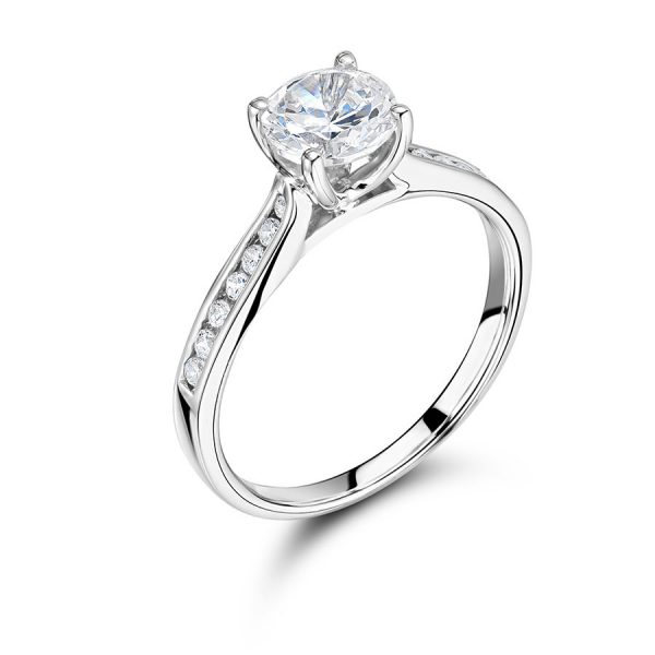 Round Solitaire with Tapered Diamond Set Shoulders