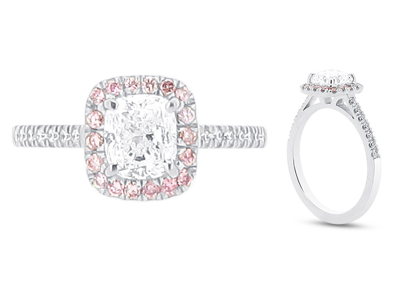 Cushion Cut Solitaire with Pink Diamonds set in Halo Engagement Ring – ER 1577