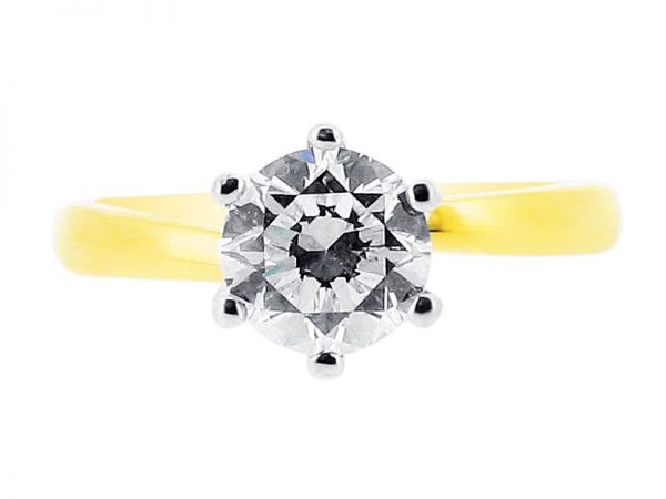 er 1101 yellow round solitaire 6 claw twist plain engagement rings