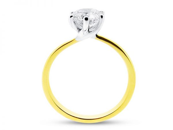 er 1101 yellow side round solitaire 6 claw twist plain engagement rings