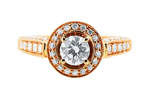 er 1248 round brilliant rose gold pave set halo with pave shoulders and walls and basket diamond detail engagement ring