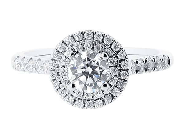 er 1432 round double scallop halo engagement ring