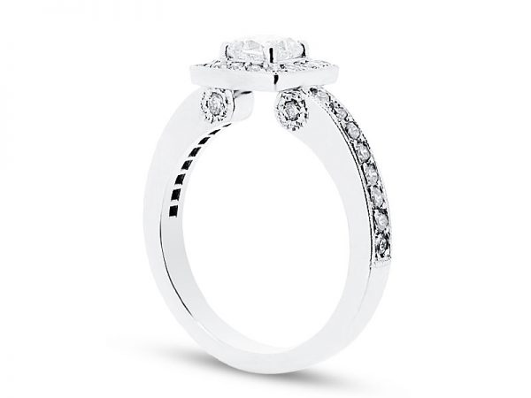 er 1552 side round halo pave scroll engagement ring
