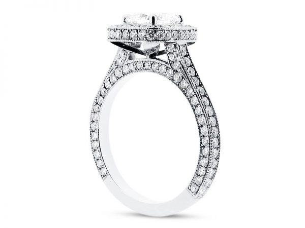 er 1561 side cushion halo pave 4 claw engagement ring