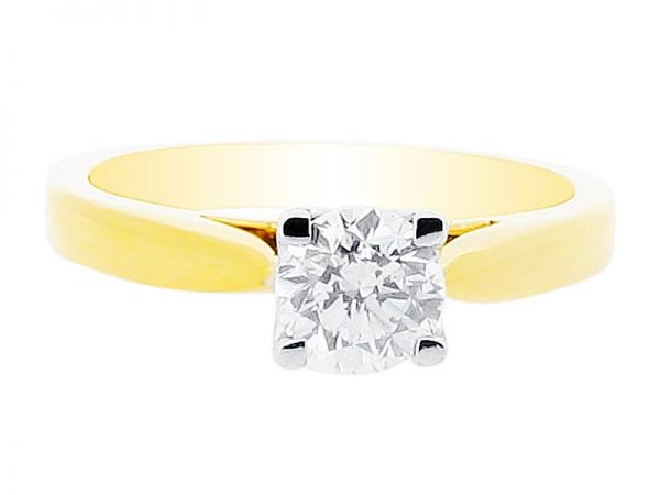 er 1970 round brilliant four claw solitaire yellow gold engagement rings