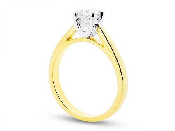 er 1970 side brilliant round four claw solitaire yellow gold engagement rings