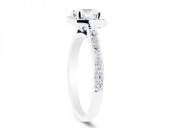 er 2003 side round brilliant with pave set halo and shoulders 1 engagement ring