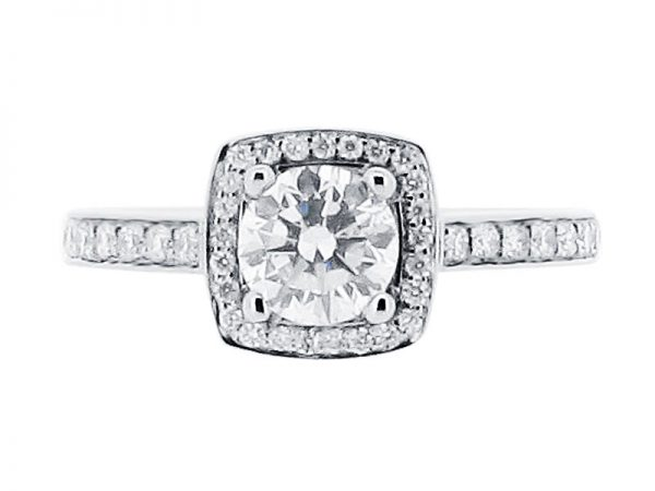 er 2003 side round brilliant with pave set halo and shoulders 2 engagement ring