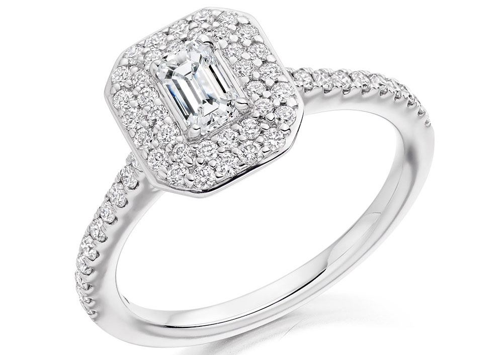 Emerald Cut Diamond Pave Set Double Halo ER2330
